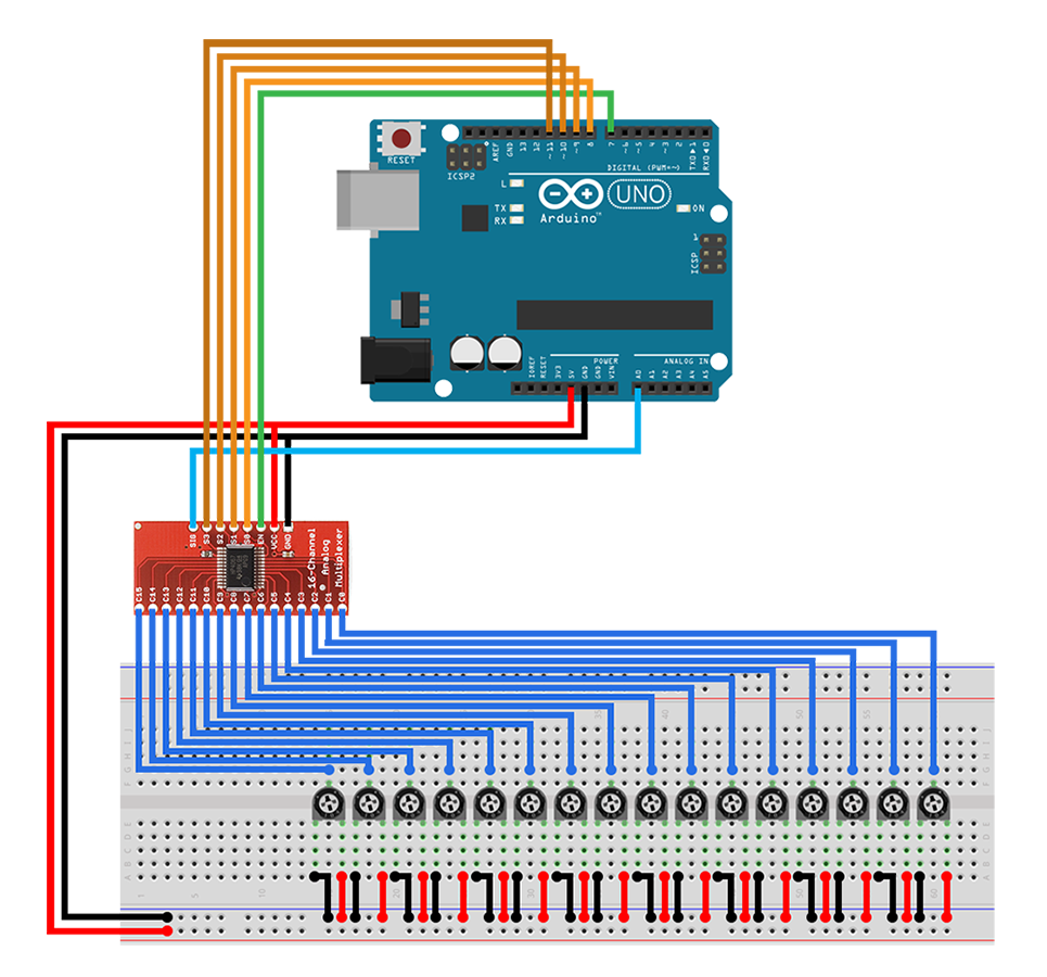 Tutorial Mux74hc4067 Blog Codebender Arduino Ide Multiplexer And Demultiplexer Circuit Diagrams Applications Schematic Pots Zps18d61b5c